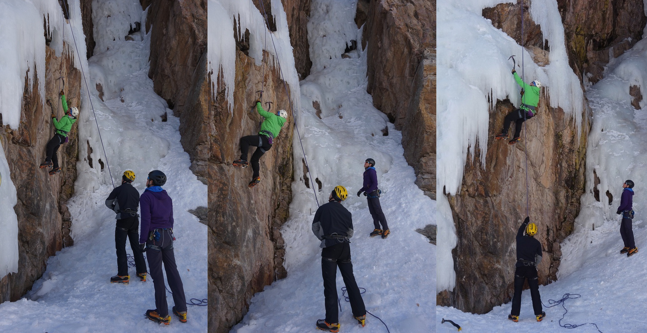 Vince, coaching me on Le Saucisson, a dry tooling route in the Ouray Ice Park