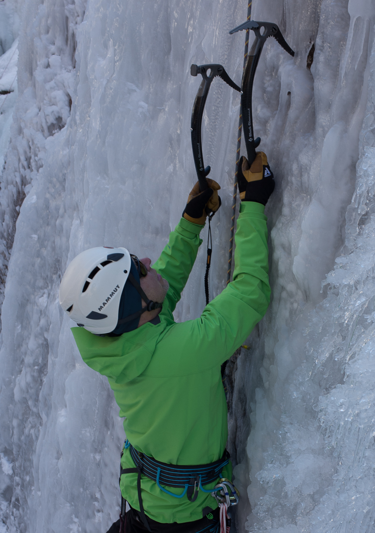 Guide Gloves on ice.  Ouray Ice Park