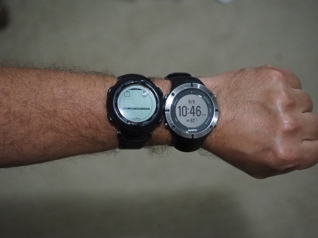 Suunto Vector on left, Suunto Ambit 2 on right