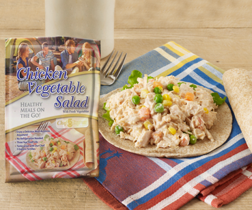 Packable chicken salad and tortilla
