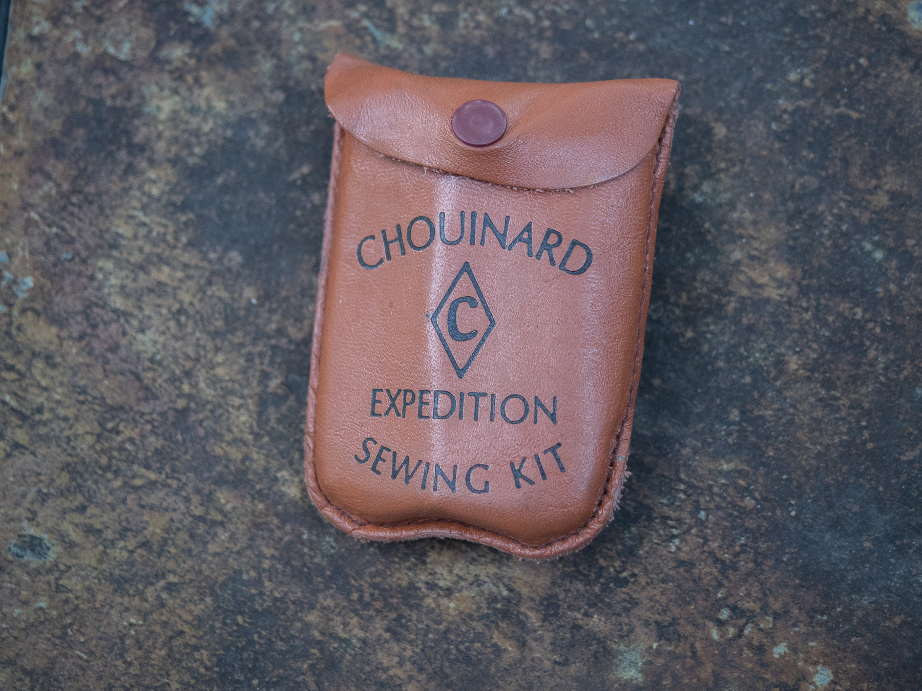 This Chouinard Expedition Sewing Kit holds needles, thread, sewing awl for sewing heavy pack fabrics, repair tape, and other necessities.