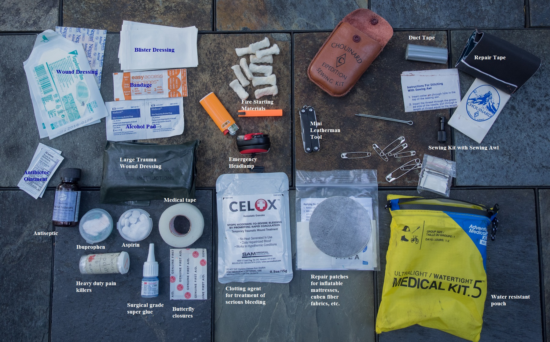 First aid/emergency kit, with contents labeled.
