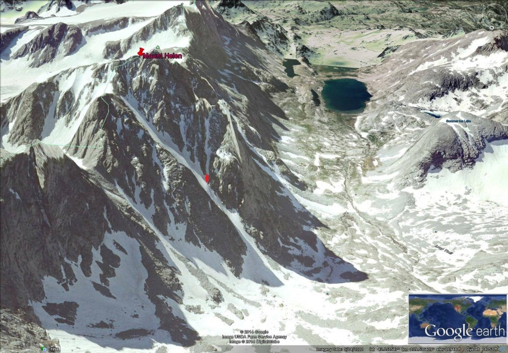 Google Earth Image of Mount Helen's Tower 1 Gully