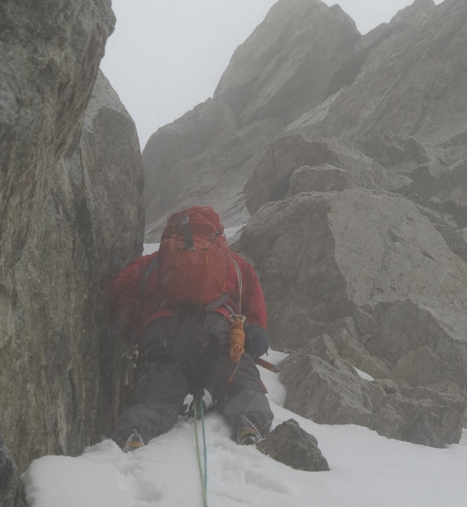 Nasty weather on Tower 1 Gully