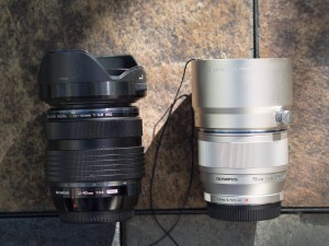 75mm and 12-40 are approximately the same size
