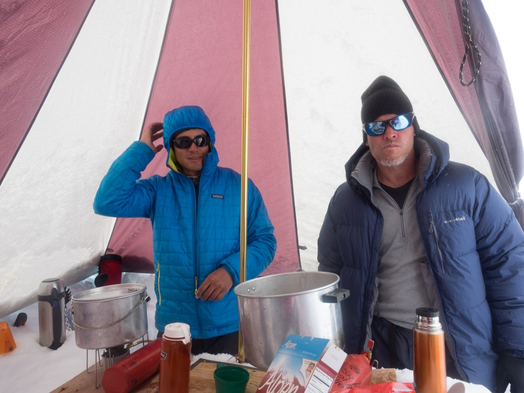 Buster and Joe in the Cook tent Megamid