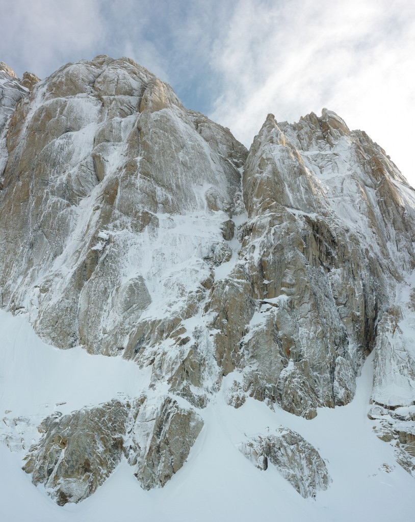 The Moose's Tooth.  The Ham & Eggs route follows the prominent couloir up the center