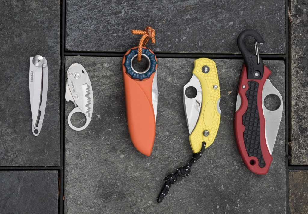 Left to Right: Baladeo, Trango, Petzl, Spyderco Dragonfly, Spyderco Clip-it