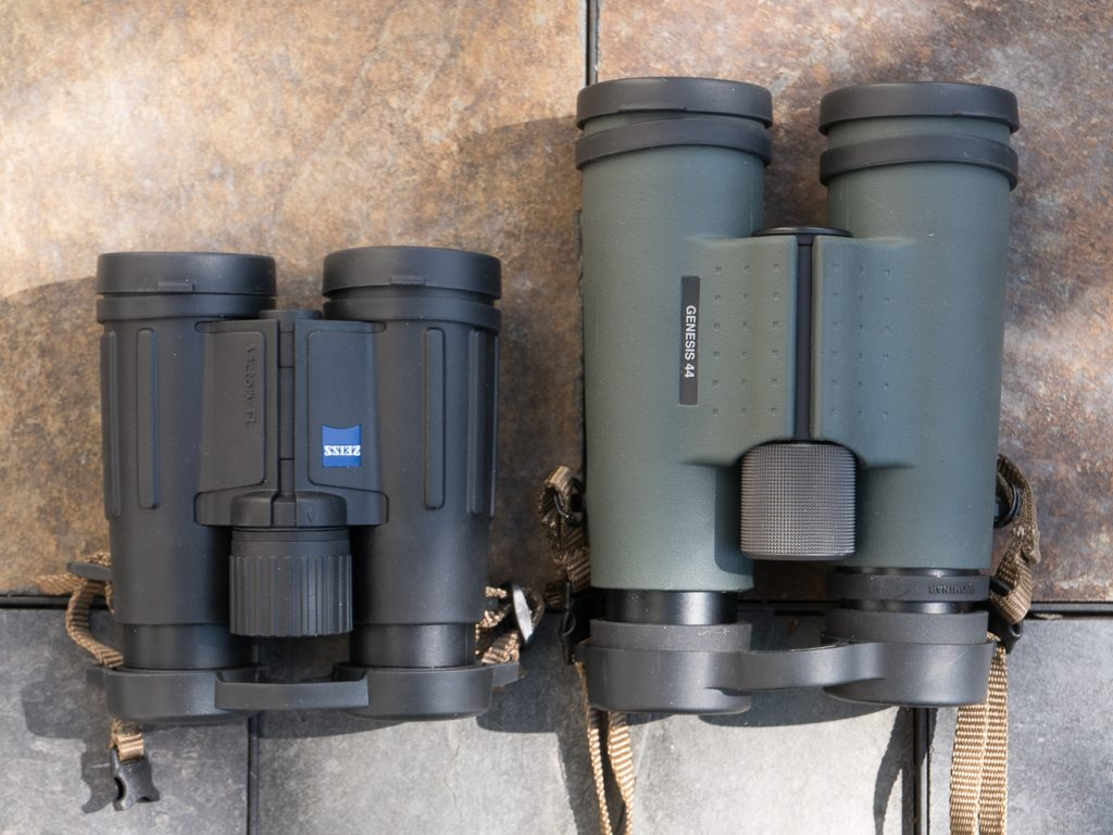 Zeiss 8x32 and Kowa 10.5x44 binos side by side
